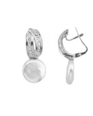 Pendientes oro blanco 2 band circon pe coin catala