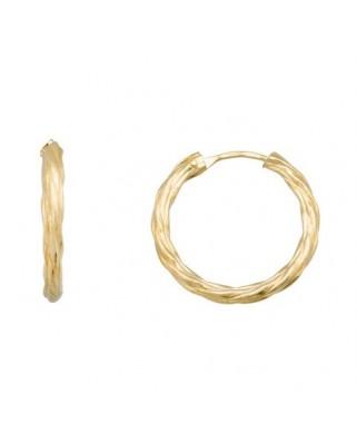 Pendientes oro amarillo aros trenzados 15mm.