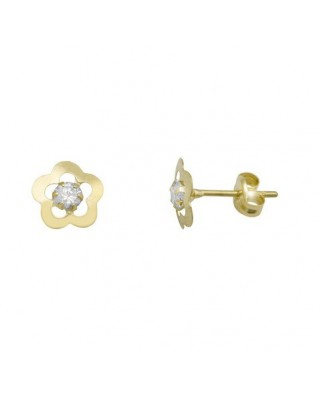 Pendientes oro amarillo flor c/circon 3 mm presion