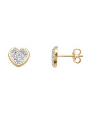 Pendientes oro bicolor corazon multicir 0,9m presi
