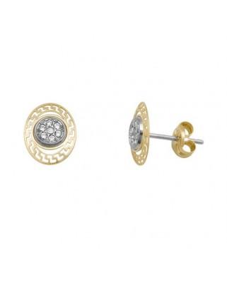 Pendientes oro bicolor oval greca microeng presion