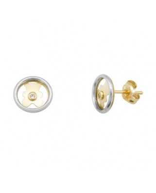 Pendientes oro bicolor circulo oso circon 1,5 pres