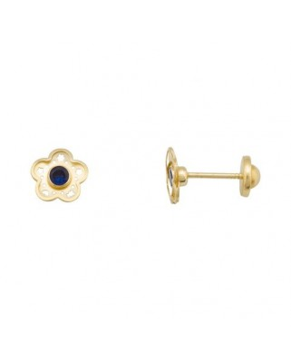 Pendientes oro amarillo flor calad c/piedr color tue