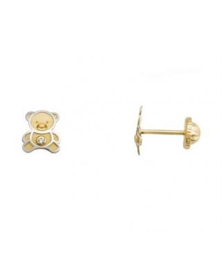 Pendientes oro bicolor oso circon 1,2 mm tuerca