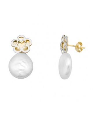 Pendientes oro bicolor flor perla coin 11 presion