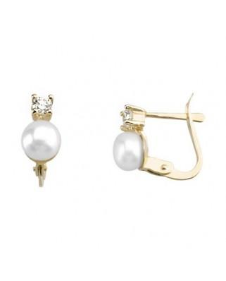 Pendientes oro amarillo garra perla n.1 p.alj.