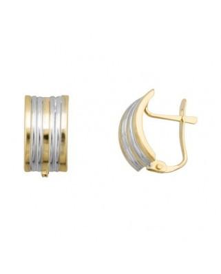 Pendientes oro bicolor ancho band gallon catalan