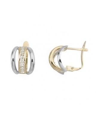 Pendientes oro bicolor bandas c/ circ 2,5 x2,5 ca