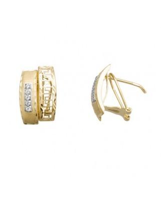 Pendientes oro bicolor band greca band circ omega