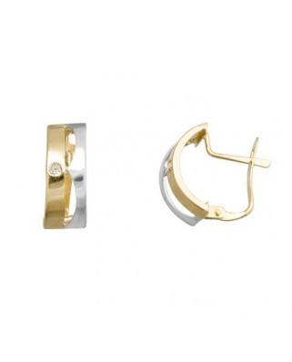 Pendientes oro bicolor 2 bandas 1 circon catalan