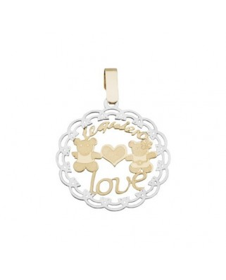 Colgante enamorados oro bicolor Colgante ositos love