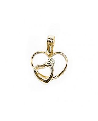 Colgante enamorados oro amarillo Colgante corazon c/corazon