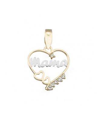 Colgante madre oro bicolor Colgante corazon mama c/circo
