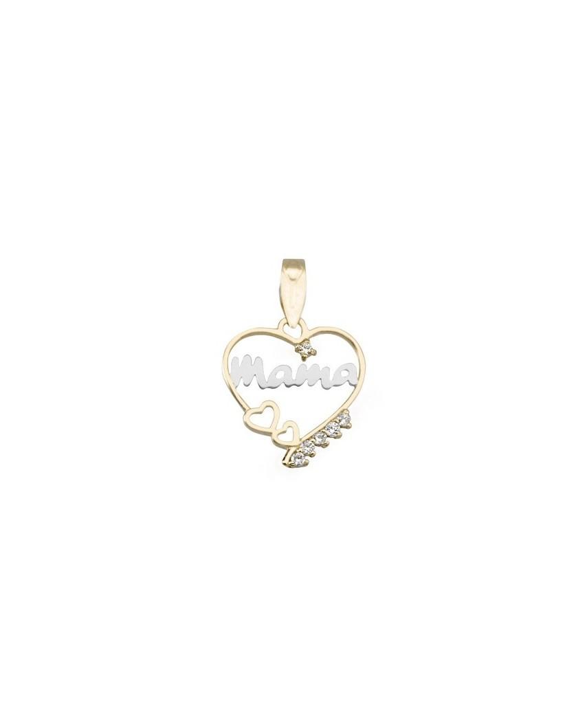 bde4596bb4cc Colgante madre oro bicolor Colgante corazon mama c circo - Daluxan
