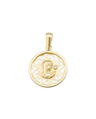 Colgante comunión oro amarillo Meda v niña 16 mm circ 1,5 mm