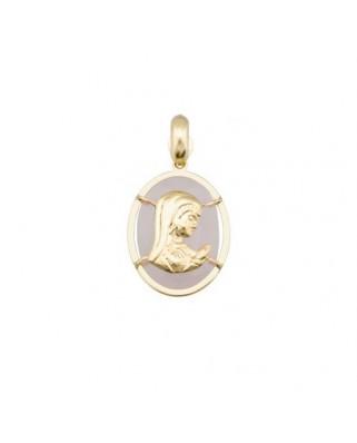 Colgante comunión oro amarillo M virgen-niña oval 14 x 10