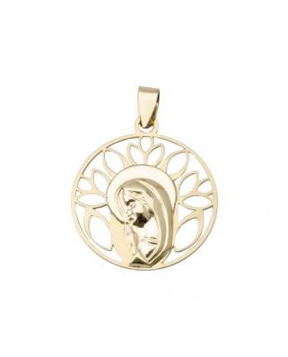 Colgante comunión oro amarillo Medalla virgen niña cna cal