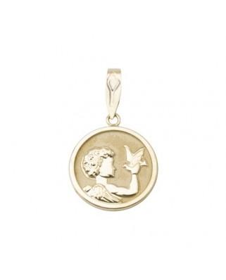 Colgante comunión oro amarillo Col medalla angel con paloma