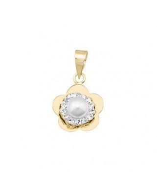 Colgante perla oro amarillo Col flor cent per cristal res