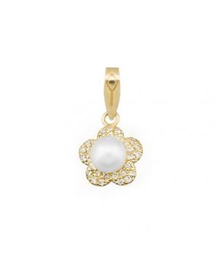 Colgante perla oro amarillo Colg flor circon perl 6 cultiv