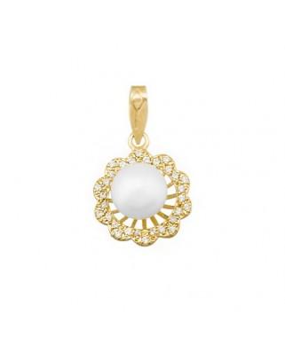 Colgante perla oro amarillo Colg flor sobre hil per 8 cult