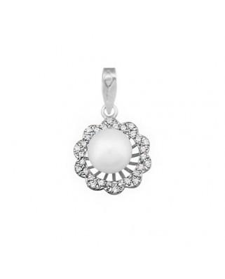 Colgante perla oro blanco Colg flor sobre hilos p 8 cult