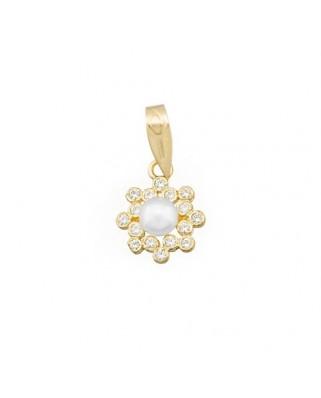 Colgante perla oro amarillo Colg flor chatones perla culti