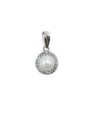 Colgante perla oro blanco Colg sobrebata hilos per 7 cul