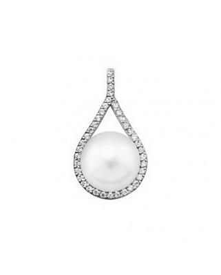 Colgante perla oro blanco Col lagrima perl bot 10mm