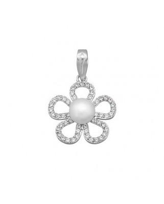 Colgante perla oro blanco Colgante flor centro perla