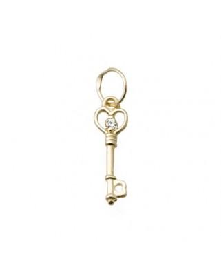 Colgante llave oro amarillo Colg llave 1 circonita