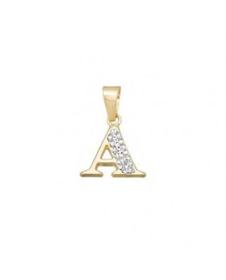 Colgante letra oro amarillo Colg inicial cristal en resina