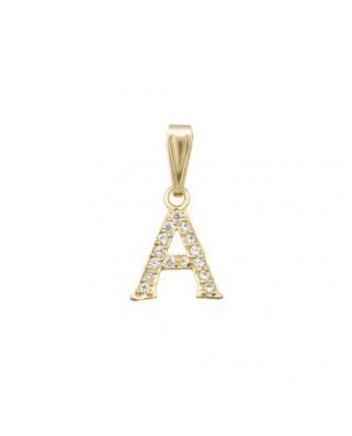 Colgante letra oro amarillo Colgante inicial c/piedras