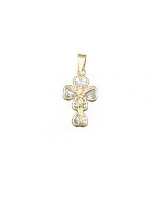 Cruz Cristo oro amarillo Crucifijo 5 piedras 4x4.
