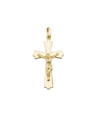 Cruz Cristo oro amarillo Crucifijo plano 29 mm