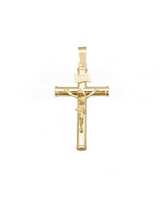Cruz Cristo oro amarillo Crucifijo redondos 27x3 mm.