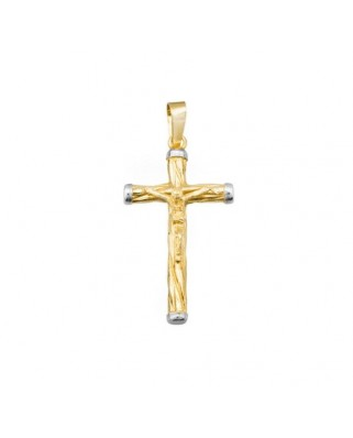 Cruz Cristo oro bicolor Crucifijo reliado 25 mm