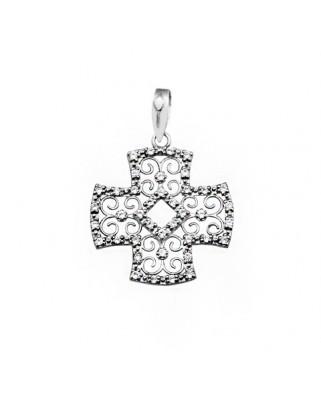 Cruz circonita oro blanco Cruces filigrana con piedras