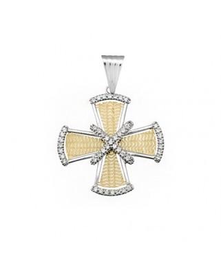 Cruz circonita oro bicolor Cruz
