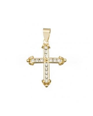 Cruz circonita oro amarillo Cruz piedra extremos 2 bandas