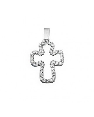 Cruz circonita oro blanco Cruz piedras centro hueco