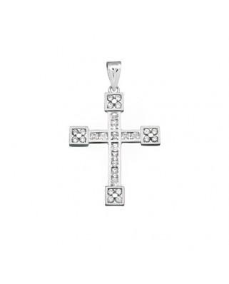 Cruz circonita oro blanco Cruz circon carre 2,5 x 2,5