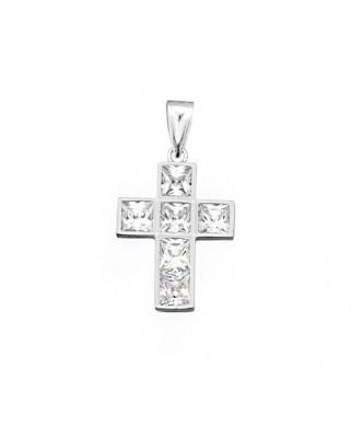Cruz circonita oro blanco Cruz circonita 5 x 5