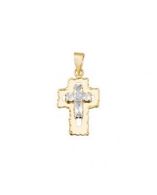 Cruz circonita oro amarillo Cruz piedras bordes desiguales
