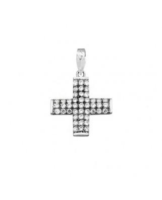Cruz circonita oro blanco Cruces circonitas filo
