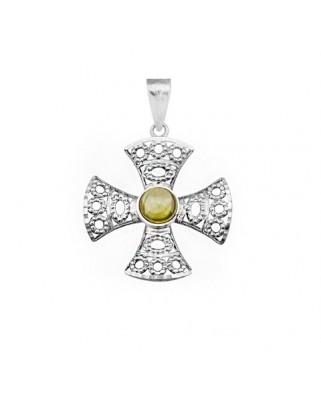 Cruz piedra color oro blanco Cruz calada c/ piedra redonda