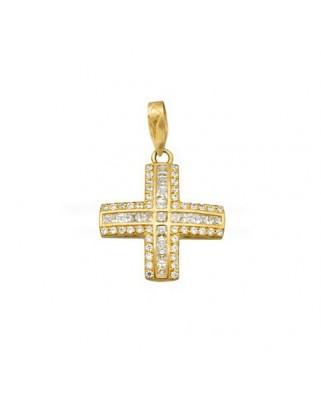 Cruz piedra color oro amarillo C.carre 2 x 2 rodeadad circoni