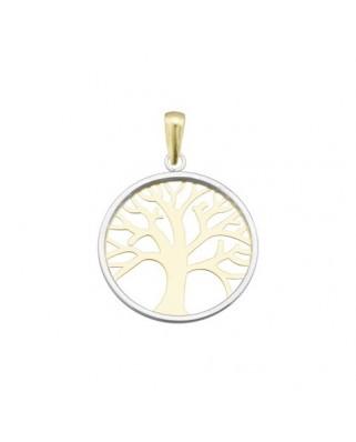 Colgante oro bicolor Col cerc liso arbol vida