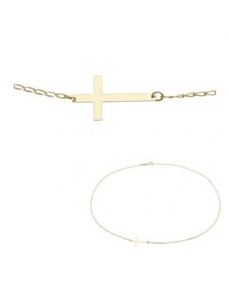 Colgante oro amarillo Collar cruz lisa 45 cmm