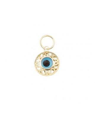 Colgante oro amarillo g ojo turco 4 mm filigrana
